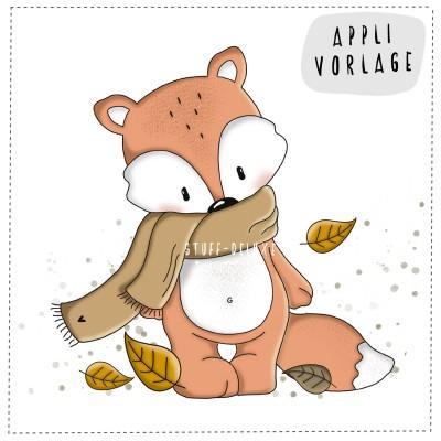 Herbstfuchs komplett Applikationsvorlage