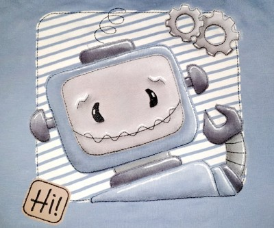 Roboter Rolli BUTTON + Gratis Patch Hi 18x30