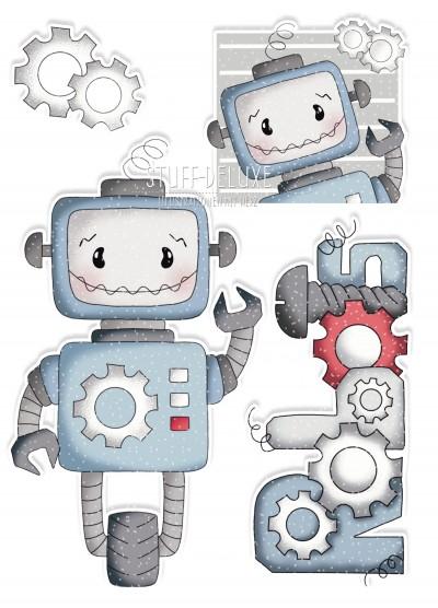 Bügelbild PVC frei Roboter Rolli SET