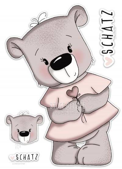 Bügelbild PVC frei Bärenmädchen mit Herzblume