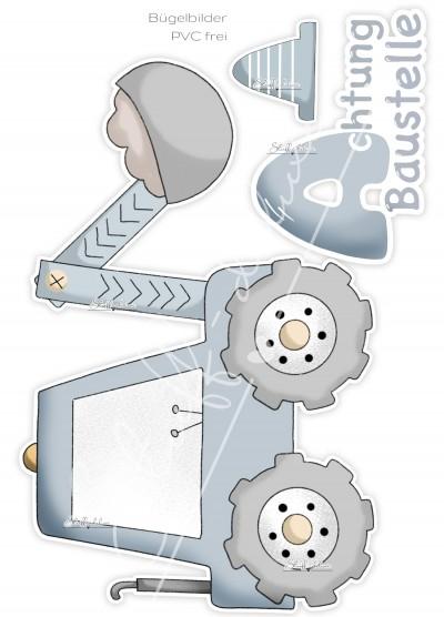 Bügelbild PVC frei Achtung Baustelle XL BAGGER