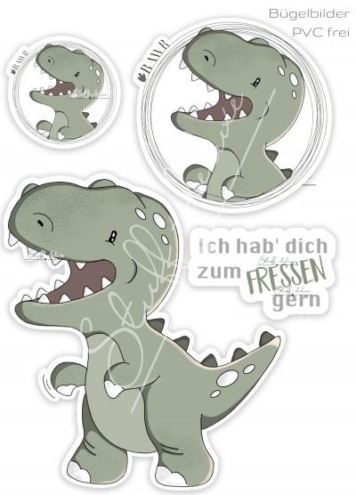 Bügelbild PVC frei Dinoset Rexi