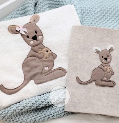 Australien Känguru Frieda mit Baby Stickdatei 18x30