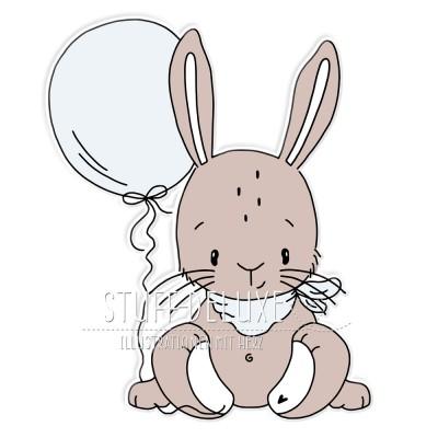 Hase Henri mit Ballon Doodle Plottervorlage