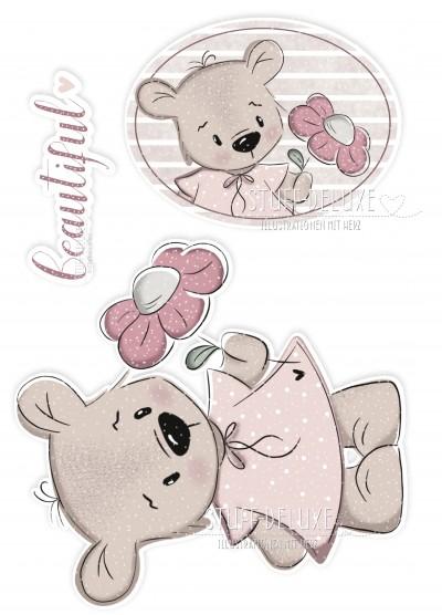 Bügelbild PVC frei Bär mit Blume Doodle