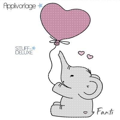 Elefant, Elephant, sticken, Stickdatei, Fanti, Ballon, Herz,