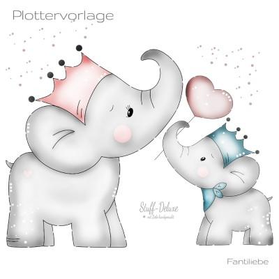 Mutterliebe, Elefant, Fanti, Krone, Herz, plotten