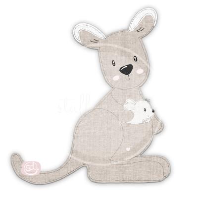 Australien Känguru Frieda mit Baby Applikationsvorlage