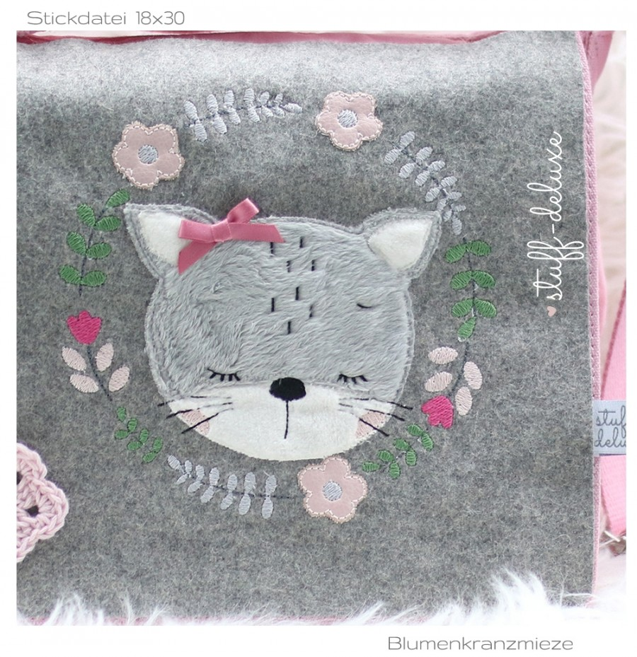 Schlummermieze Blumenkranz Blumen Katze Mieze Stickdatei
