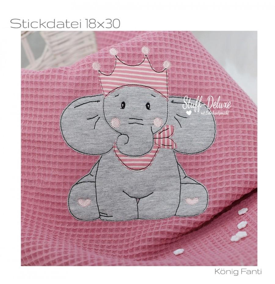 Elefant, König, Krone, Elephant, sticken, Stickdatei