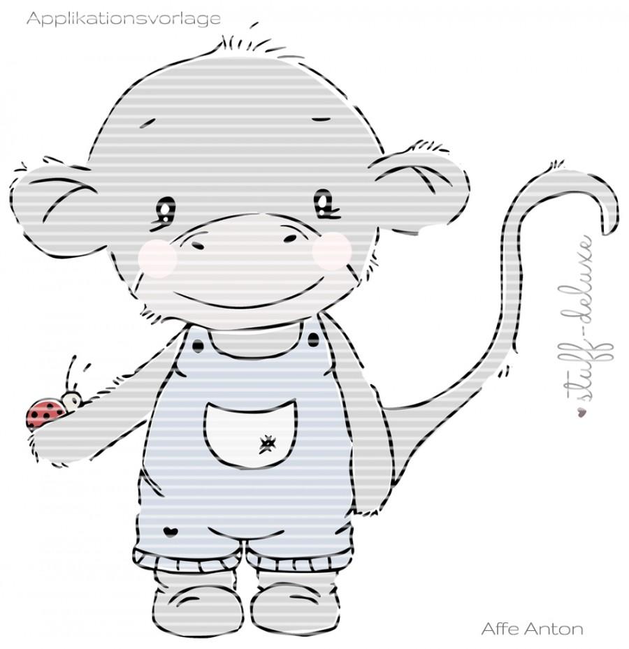 Affe Monkey Applikation Anton Antonia