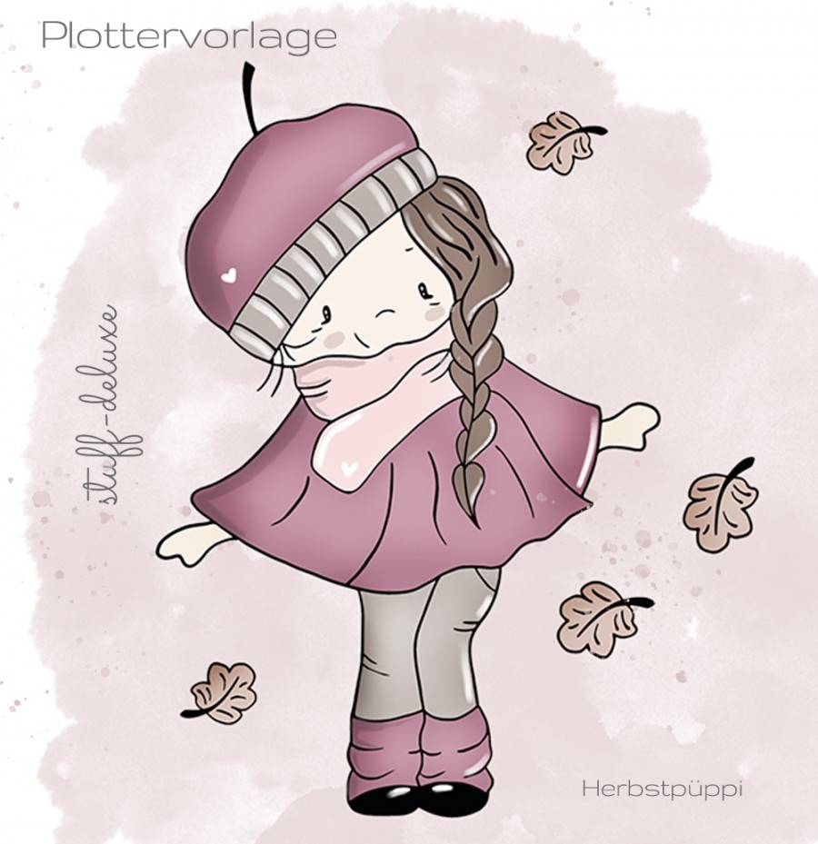 Herbstpüppi, Plotterdatei, Herbst, Mädchen, Plott, Blätter, Winter, stuffdeluxe, Plotten, Plottervorlage