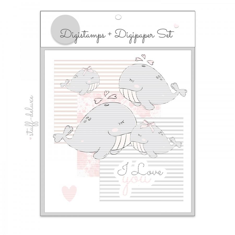 Digistamp, Print&Cut, Wal, Wale, Mutterliebe, liebe, Stempel, Fische